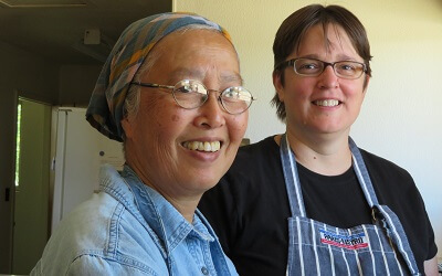 Sr. Esther with a volunteer in May 2018
